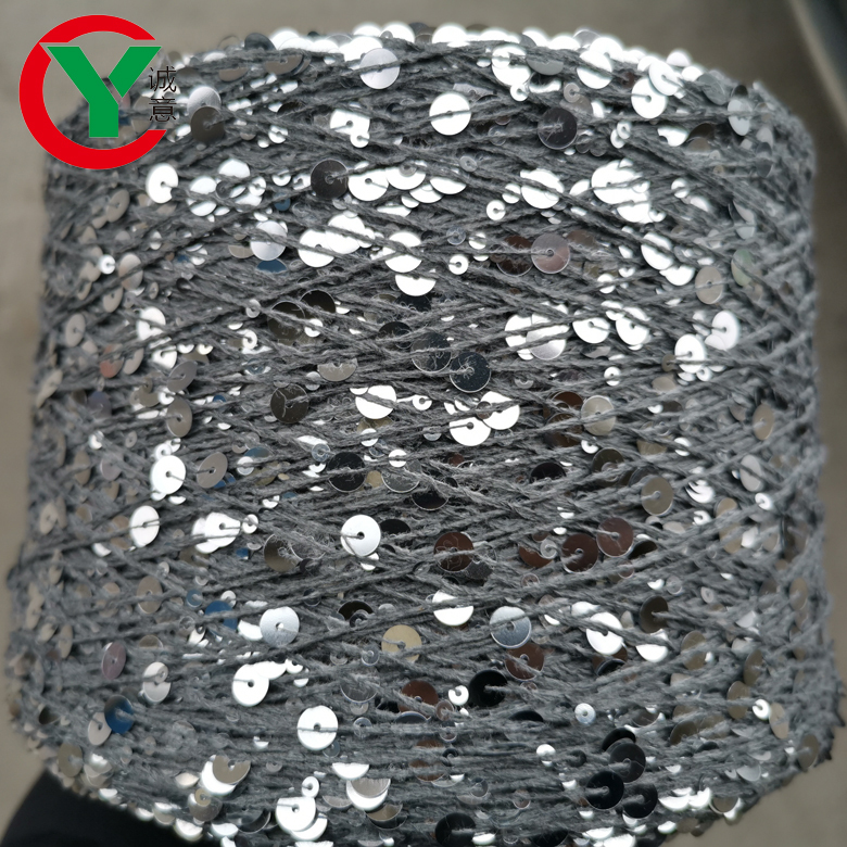 100% natural cotton yarn with 3mm +6mmsequin hot sell andpopular in Ukraine and Russia