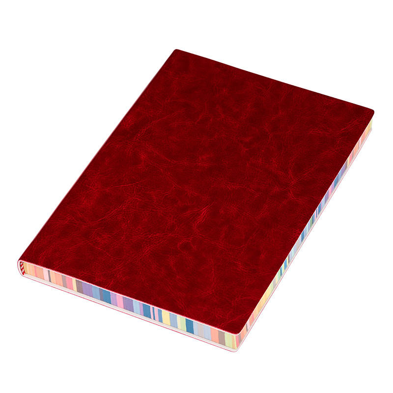 Red Color Edge Notebook Soft Cover Notebook Custom PU Leather Classic Notebook For Students
