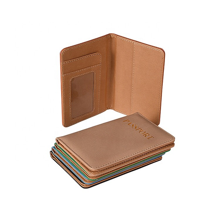 Custom Brand Logo 9.8*14cm Size High Quality Leather Material Passport Case in Stock