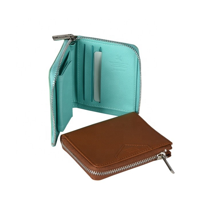 Factory Direct Sky Blue PU Leather Woman Wallet with Zipper
