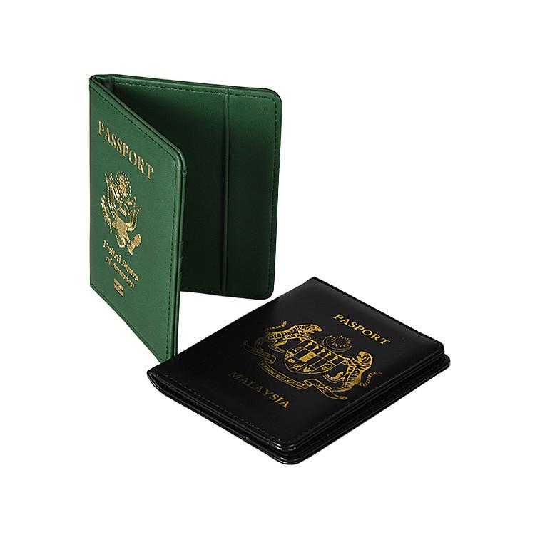 Custom Logo Pu Leather Wallet Passport Cover