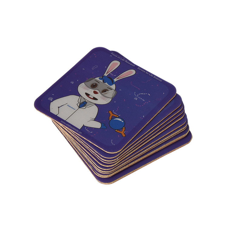 Custom Brand Colorful Printing PVC Sheet Plus Leather Composition Coaster
