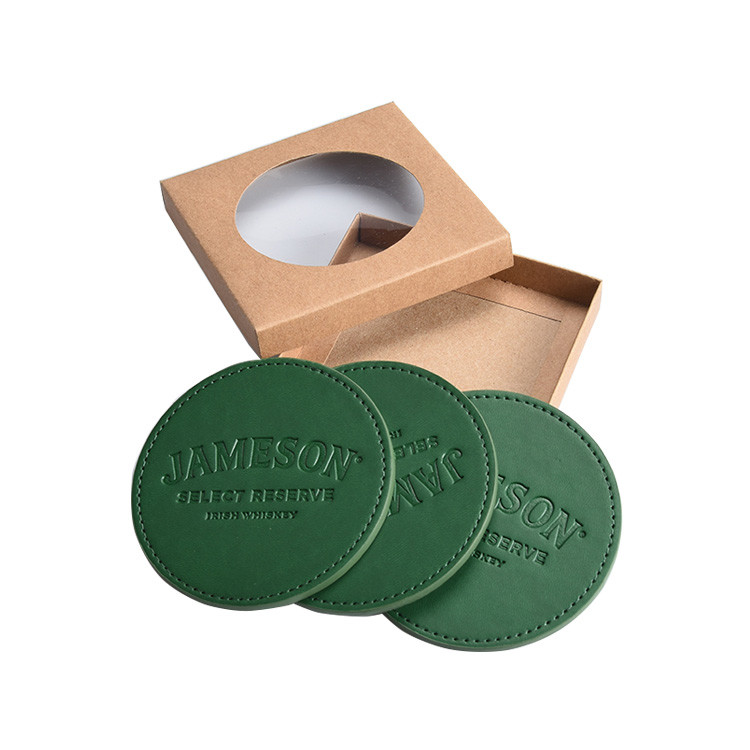 Factory supply Custom Restaurant Embossed PU Leather Cup Mat Coaster with debossed logo and gift box packing