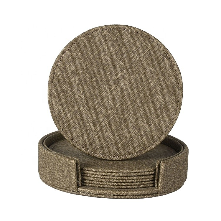 Custom Fabric Leather Material Non Slip 4pcs Coasters with Holder