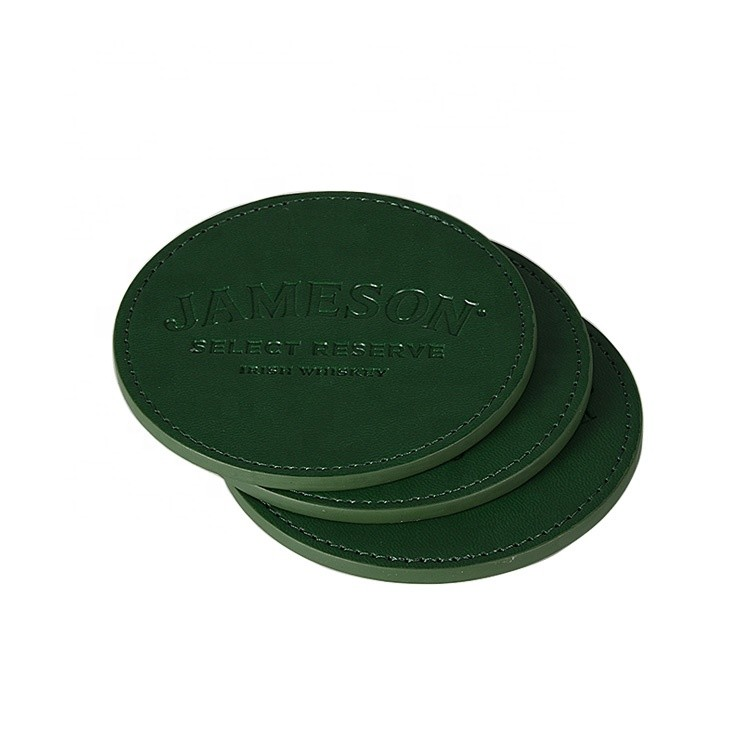 Promotional Wholesale Blank Cheap Simple Style Round Drink Cup Mat PU Leather Coaster with Engraved Logo