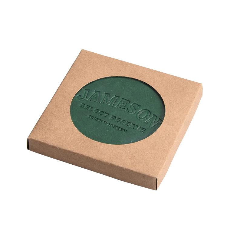 Direct factory supply embossed logo 9cm size leather coasters