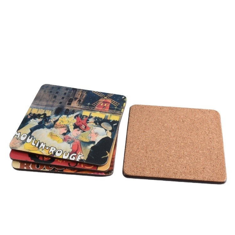 Custom Brand Name Eco Friendly Wooden Cartoon Pattern Cup Cork Coaster for Drink
