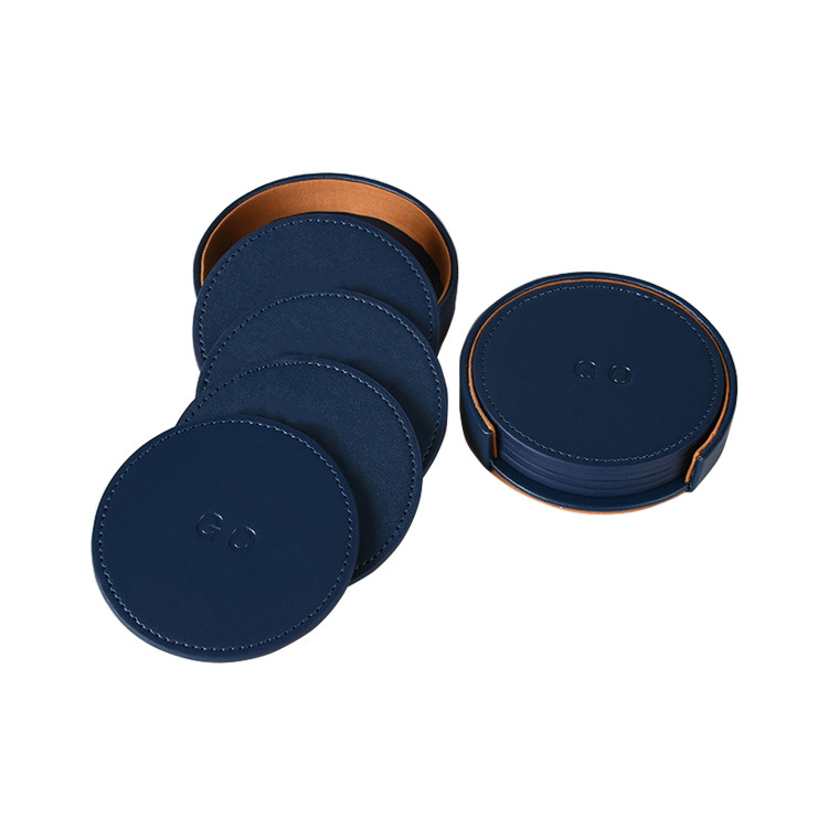 Factory Supply Brand Debossed Logo Set Of 4 With Holder Leather PU Coaster