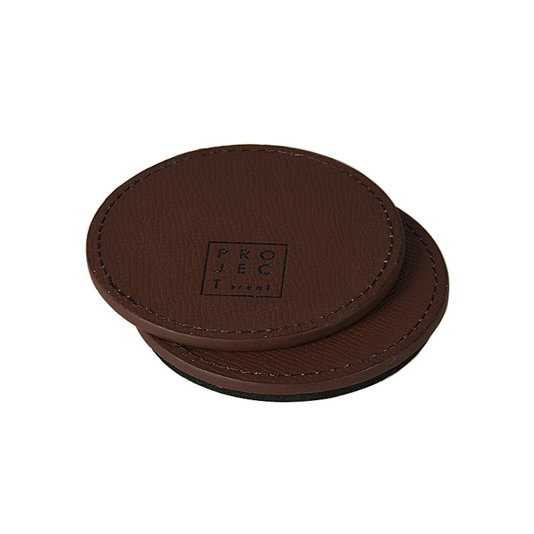 Custom Logo different Size Leather Material Cup Coaster