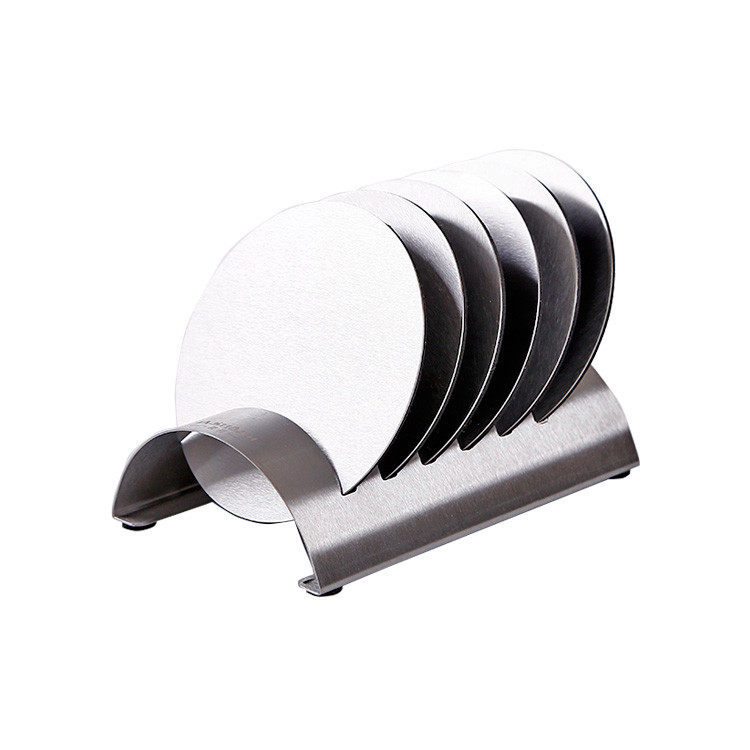 Custom Logo Premium Stainless Steel Coaster Cup Holder Set Metal Coasters