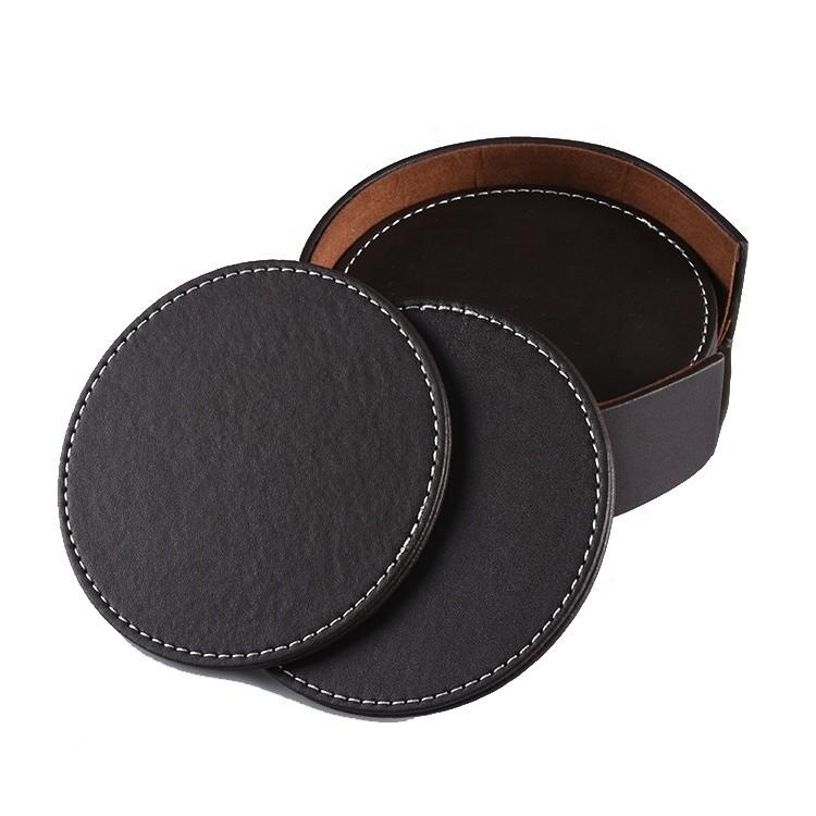 Custom Logo Cup Coaster Set Non-slip Insulation Blank Pu Leather Tea Coaster