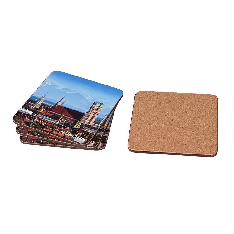 Square Wooden Custom Printed Mug Drink Paper Laminated MDF Coaster with Cork