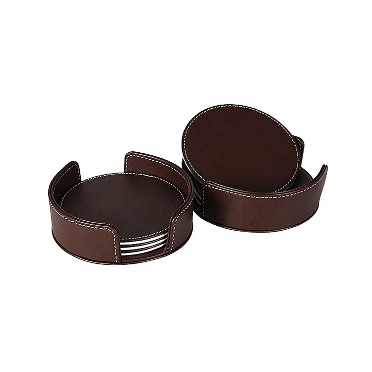 Custom Logo and Size American Style Round PU Leather Coasters Set of 6pcs with Holder