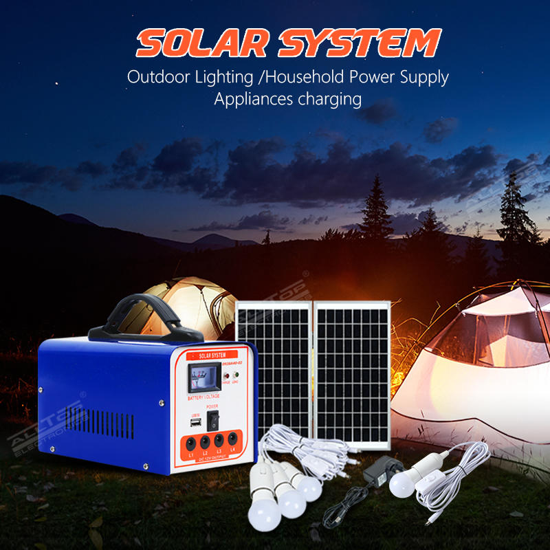 ALLTOP Hot selling home solar energy system lighting 40w portable off-grid mini solar power system with bulb