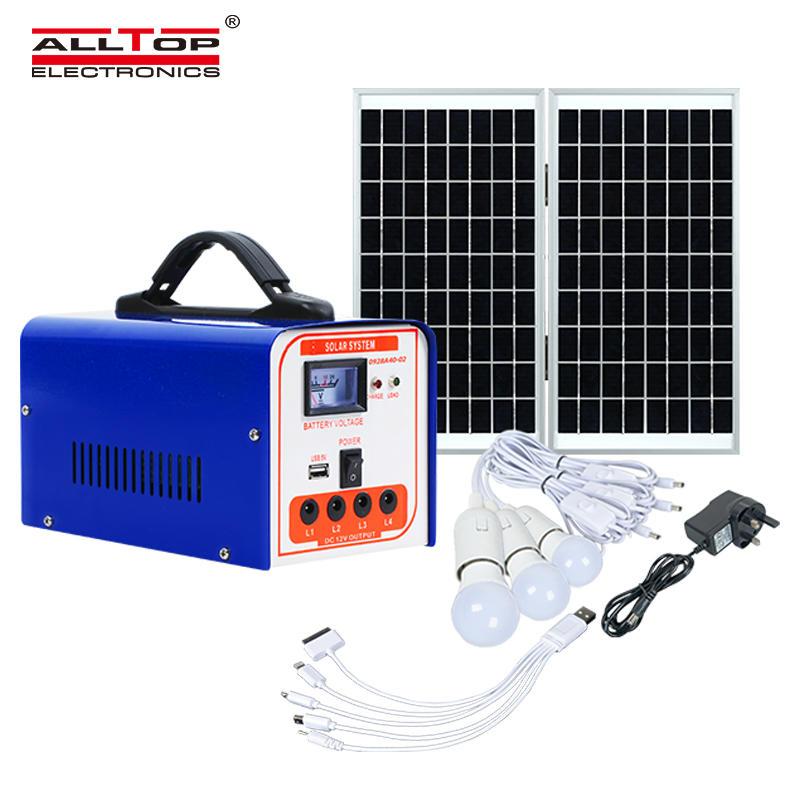 ALLTOP Hot selling portable DC solar kits 40w mini solar power lighting system for home