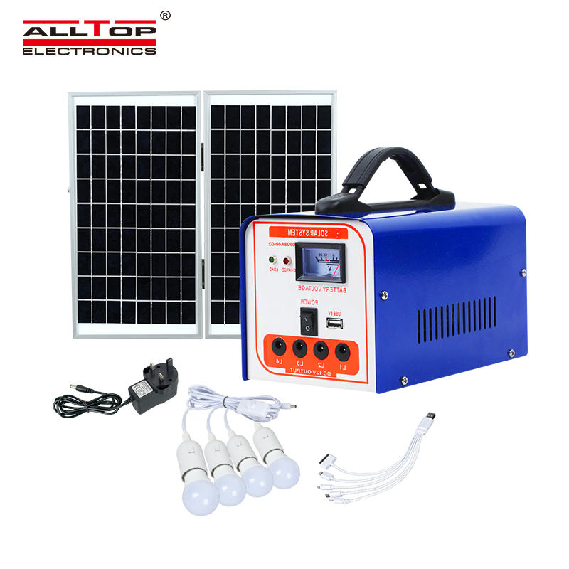 ALLTOP Home mobile charging solar panel led light kits 40w mini solar system
