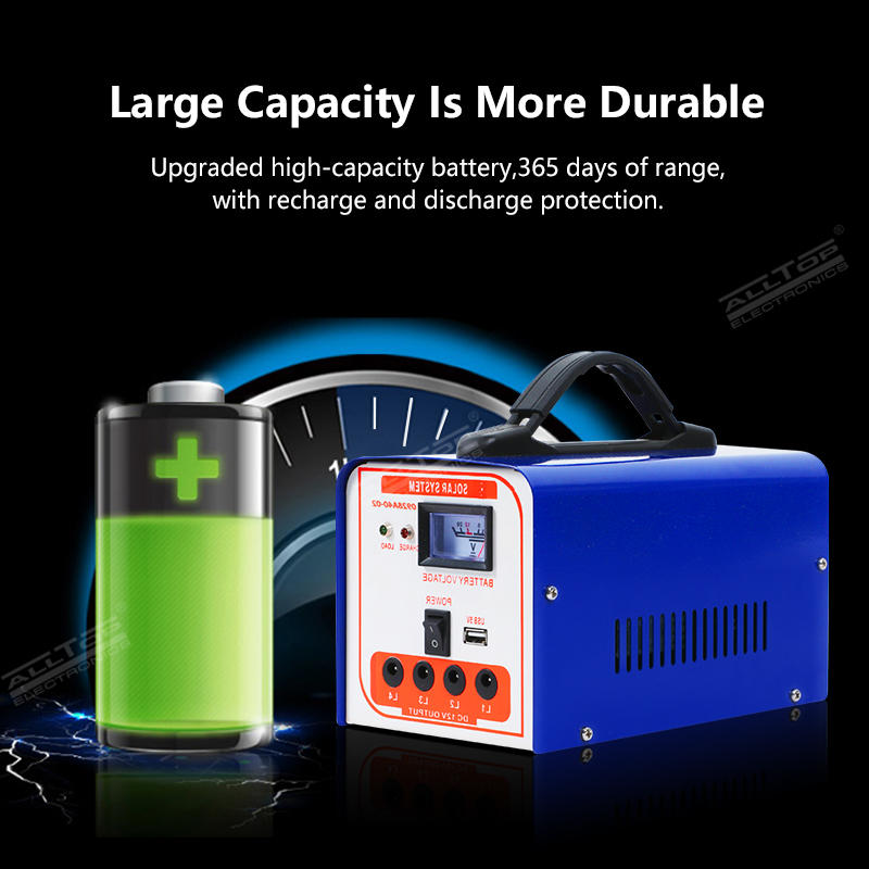 ALLTOP Home mobile charging solar panel led light kits 40w mini solar system