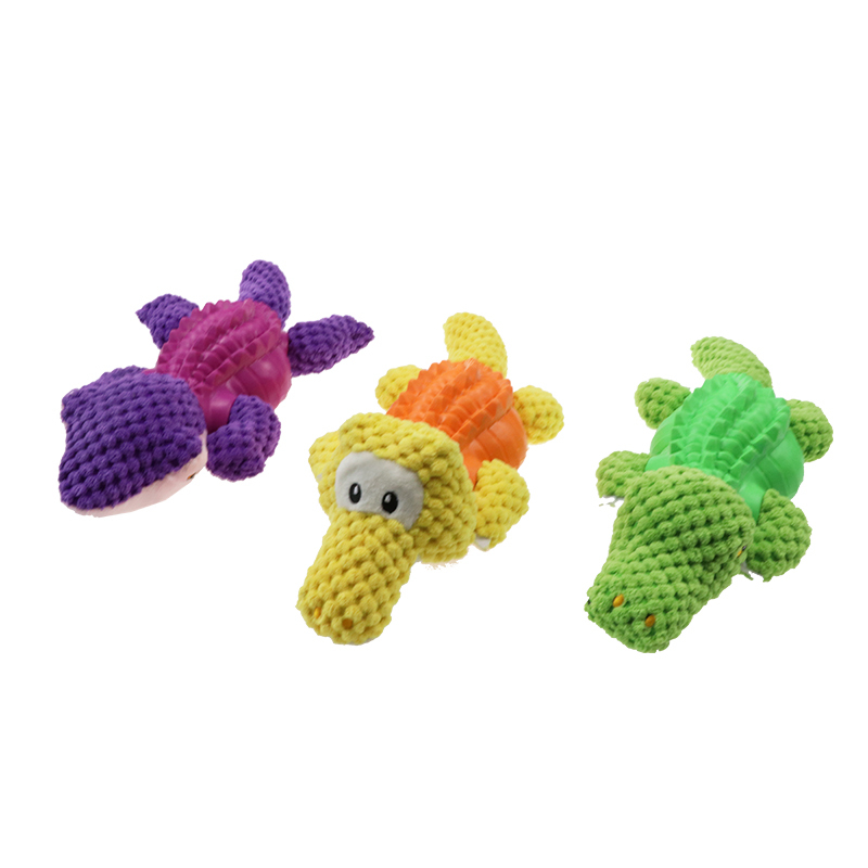 Crocodile corduroy squeak plush dog toy designBest Interactive Toy Pets