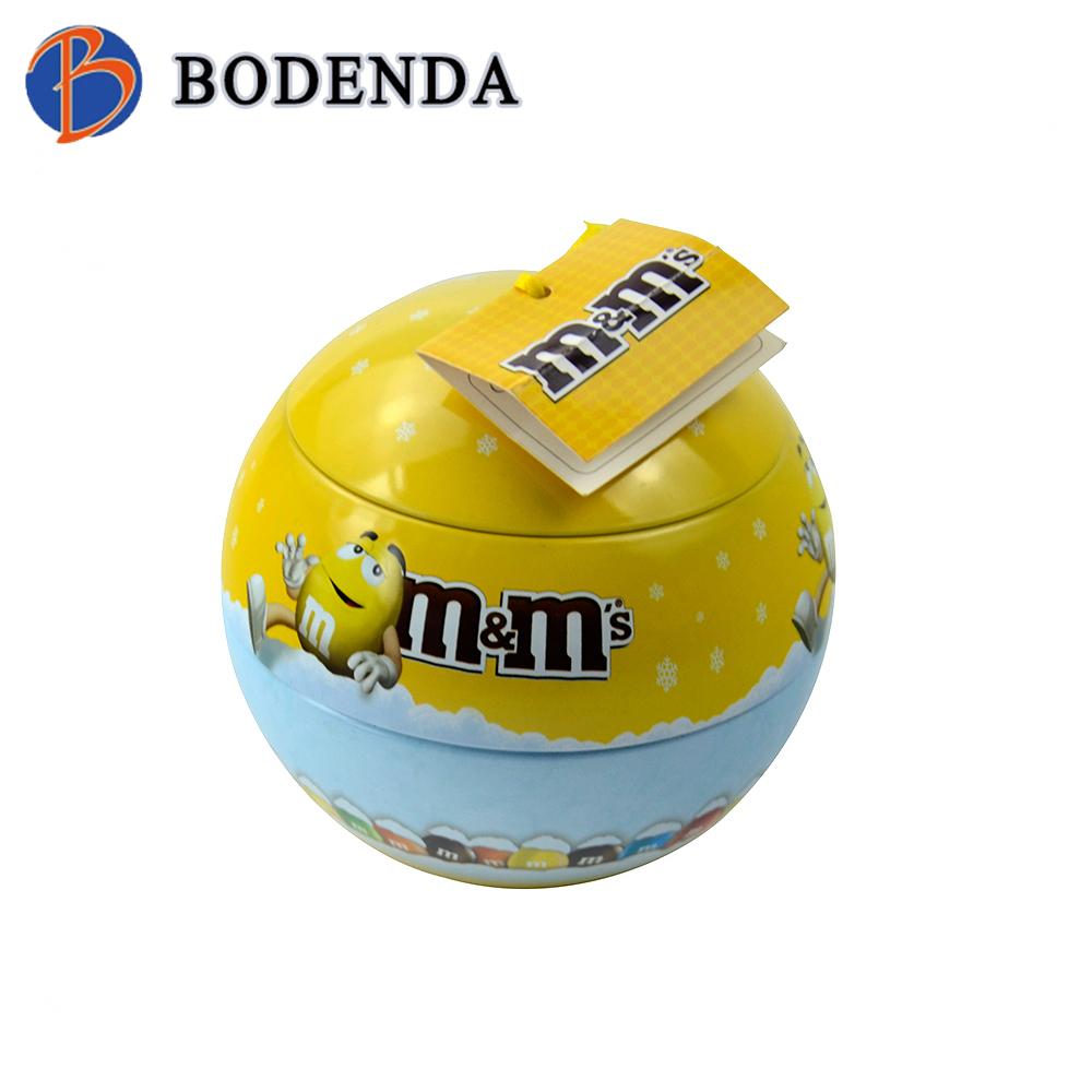 High quality small Christmas tin ball for candy