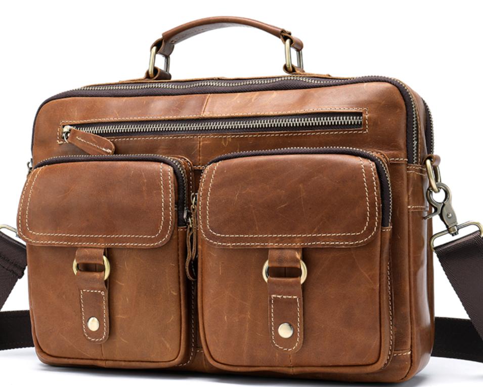 Men Shoulder HandbagGenuine Leather laptop bag 13inch Casual Crossbody Bags for Messenger Bag