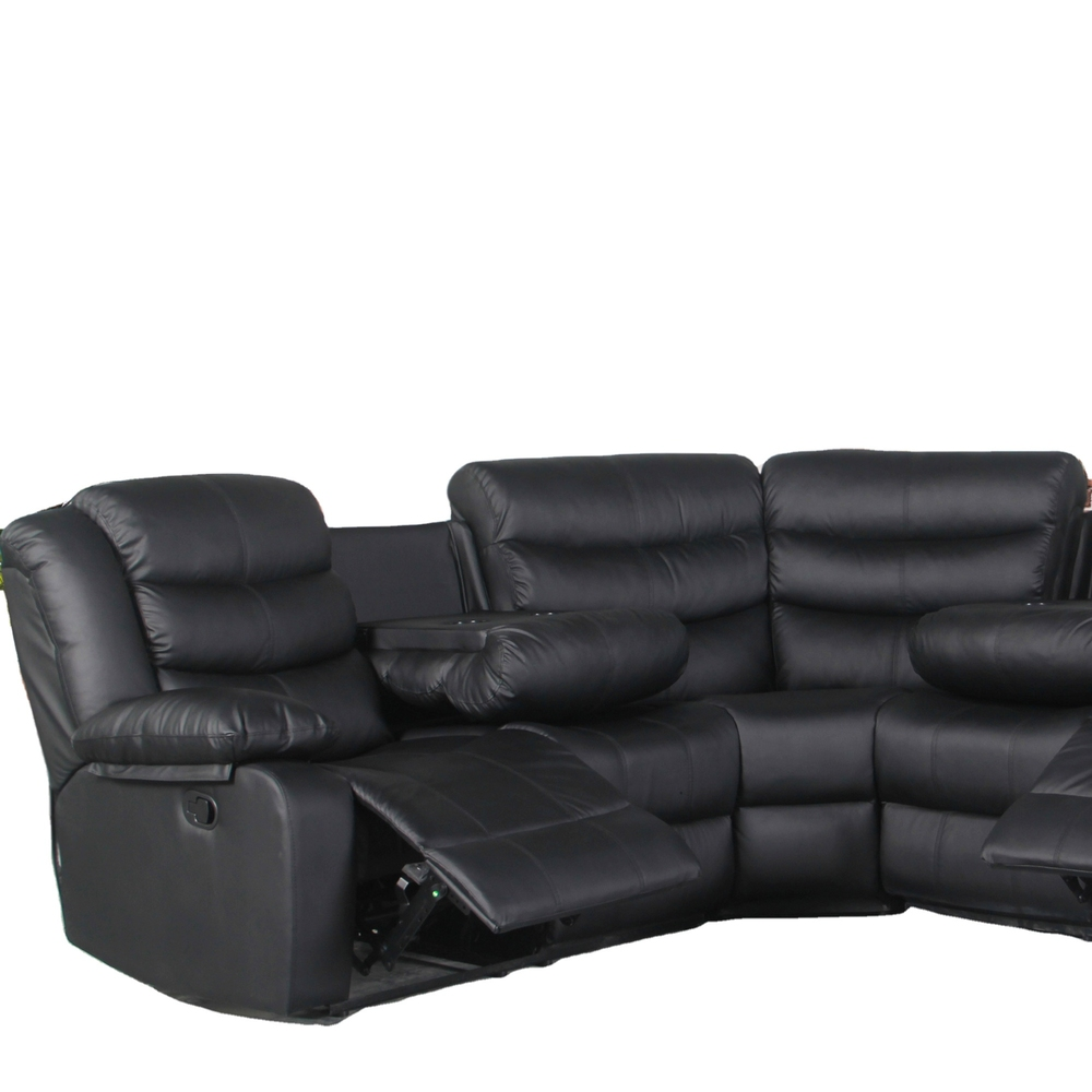 2021 recliner Reclining Sectional black PUleather sofas for living room