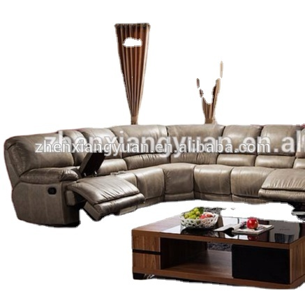 Contemporary 3-Piece Upholstered Transitional Sectional Set with 4 Recliners, Storage Console, and Cup Holders