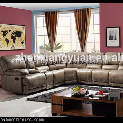 Highe End Living room fashion Motion Sectional Sofa Set beige Air leather Sofa Loveseat W Console Wedge