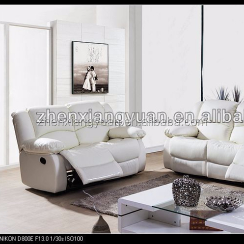 2020 wholesale furniture leather Double recliners Reclining white color leather sofa suite