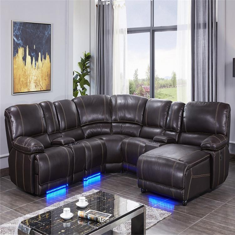 2019 luxury corner sofa living room sofa with foot lighting recliner sofa set