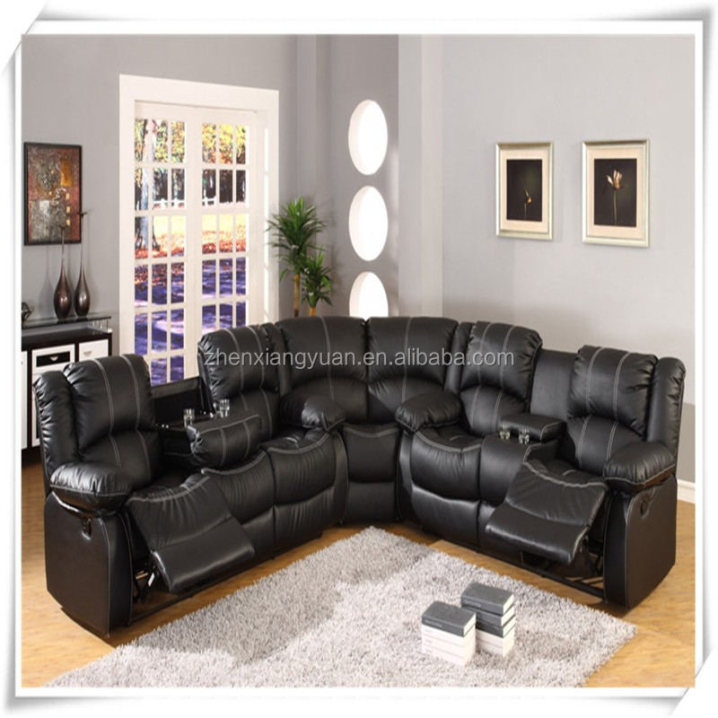 SF3591 BLACK LEATHER SECTIONAL SOFA WITH RECLINERS