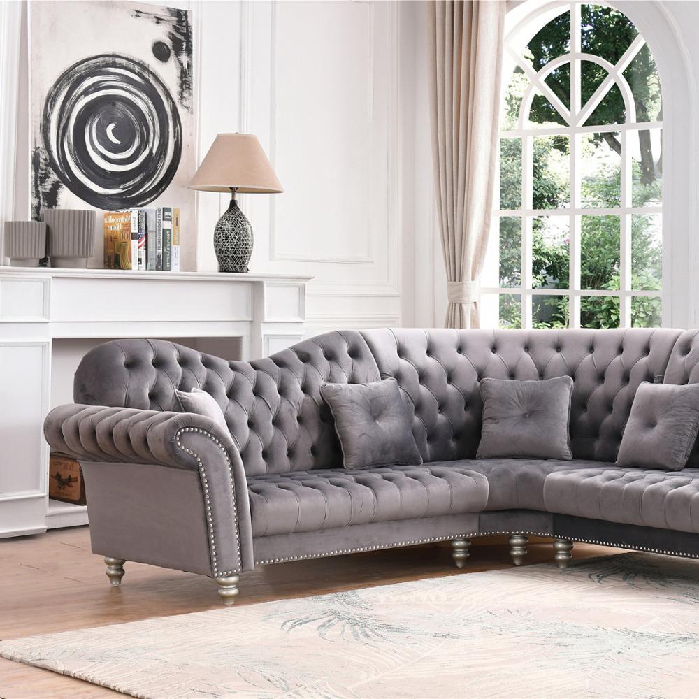 Living room sofas luxury velvet fabric corner sofaL shape