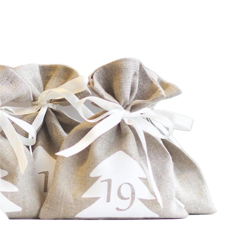 GF-JT2010 linen advent calendar Christmas Reusable gift bags