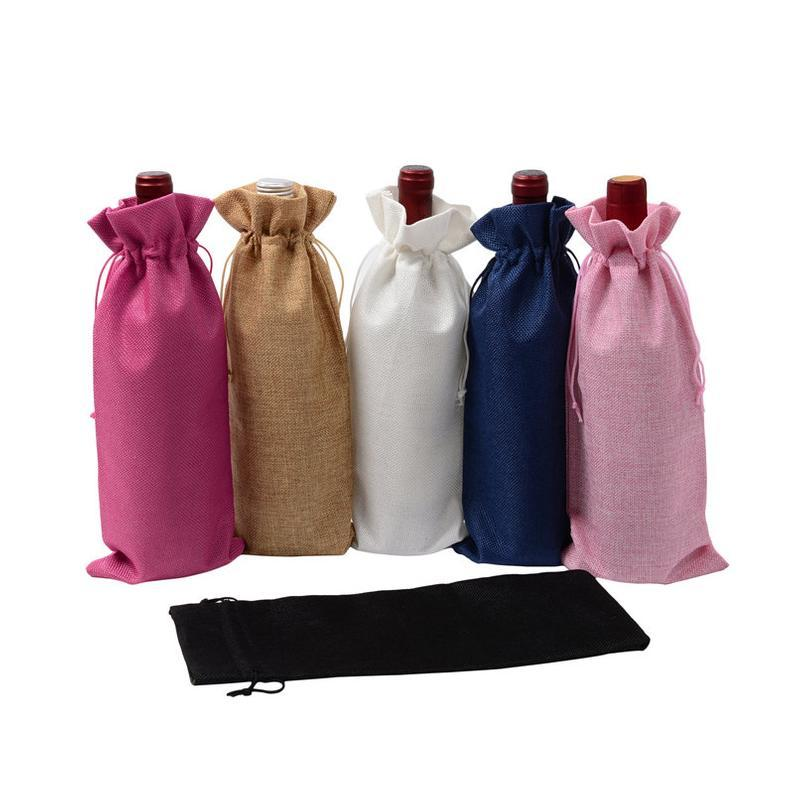 GF-JT2013linen Drawstring Christmas Wedding Party Reusable gift bags Rustic Jute Burlap Wine Bags Drawstring Wine