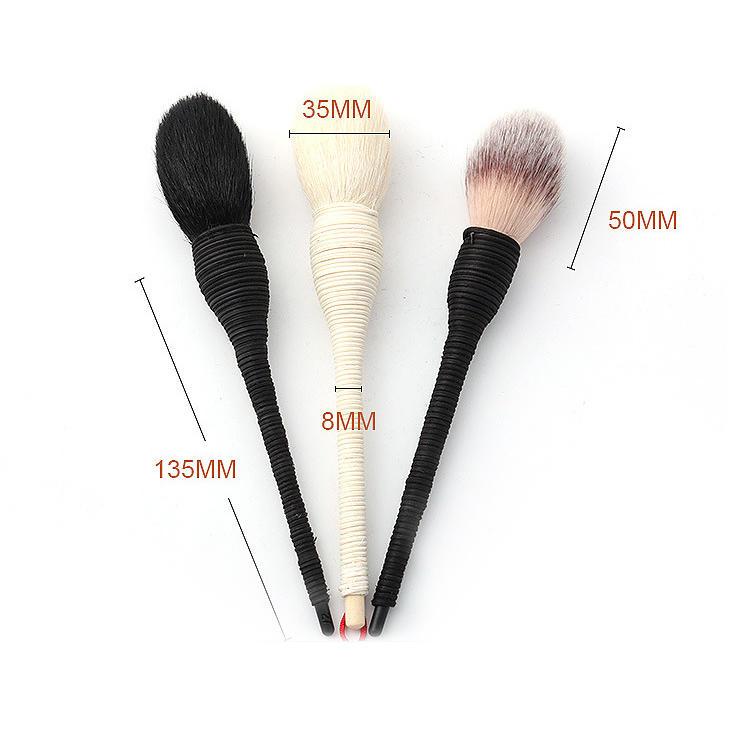 Hot Sale Animal hair 3 pcs Powder Brush Handmade Rattan Makeup Brush