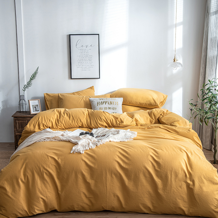Enerup Home Sense Wholesale Grey Plain Fluffy Microfiber Cotton Bedding Bed Duvet Cover Set