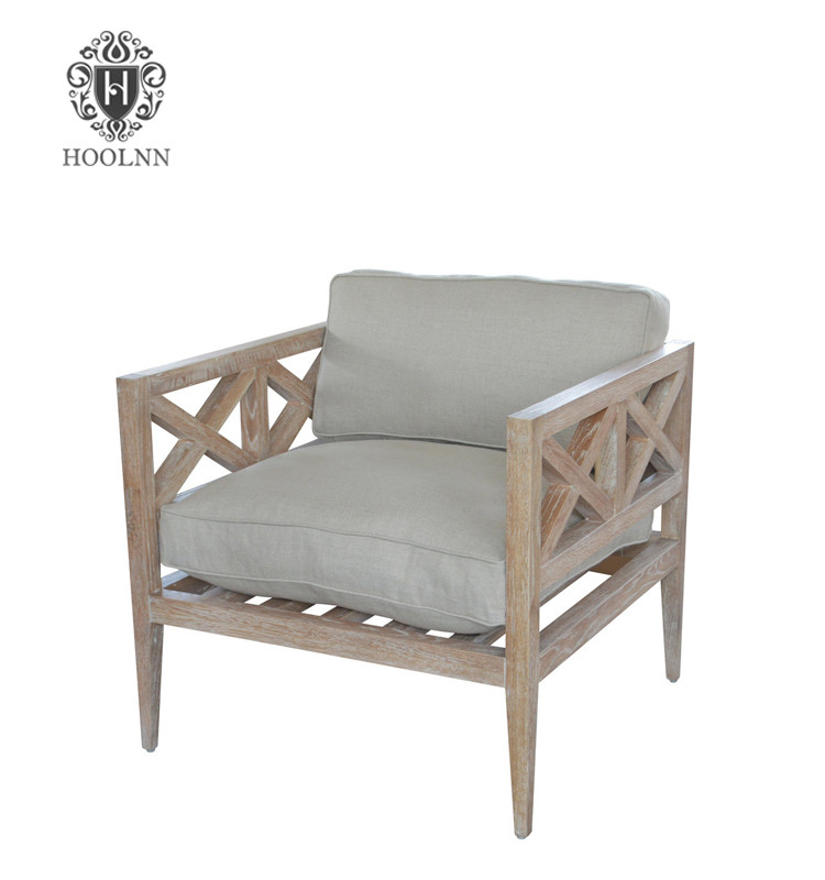 French Style Upholstered ArmChair Wooden Wing Back Arm Chair P0029