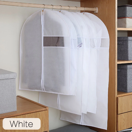Clothes Dust Cover Non-woven Fabric Case for Household Hanging-type Coat Suit Storage Bag Wardrobe Organizer