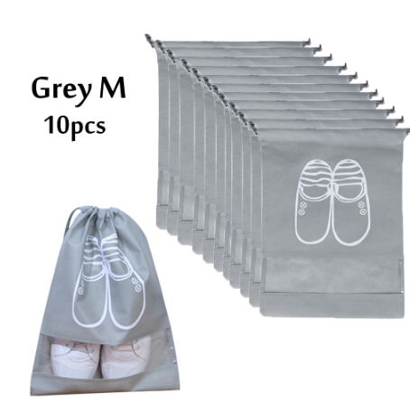Travel Shoes Organizer Bags For High Heel Drawstring Transparent Window Space Saving Shoes Storage Bags 10 Pack