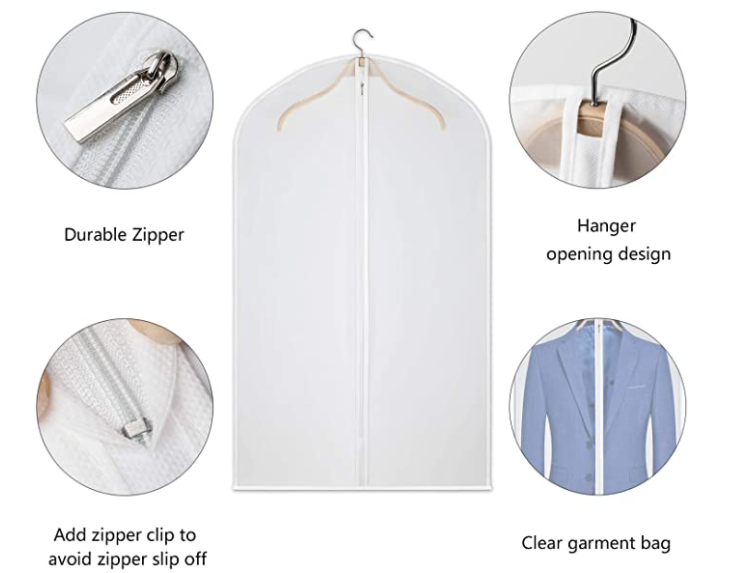 Garment Bags Dress Bag for Storage 60 inches Dust-ProofCover Bag with Zipper for Long Dresses Suit Coat Closet