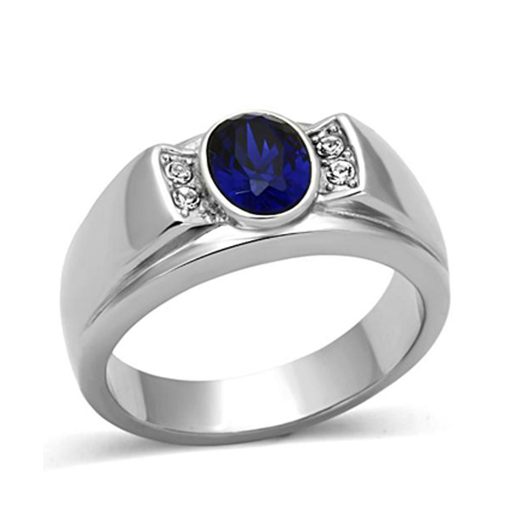 Refined blue cz china factory 316l stainless steel jewelry