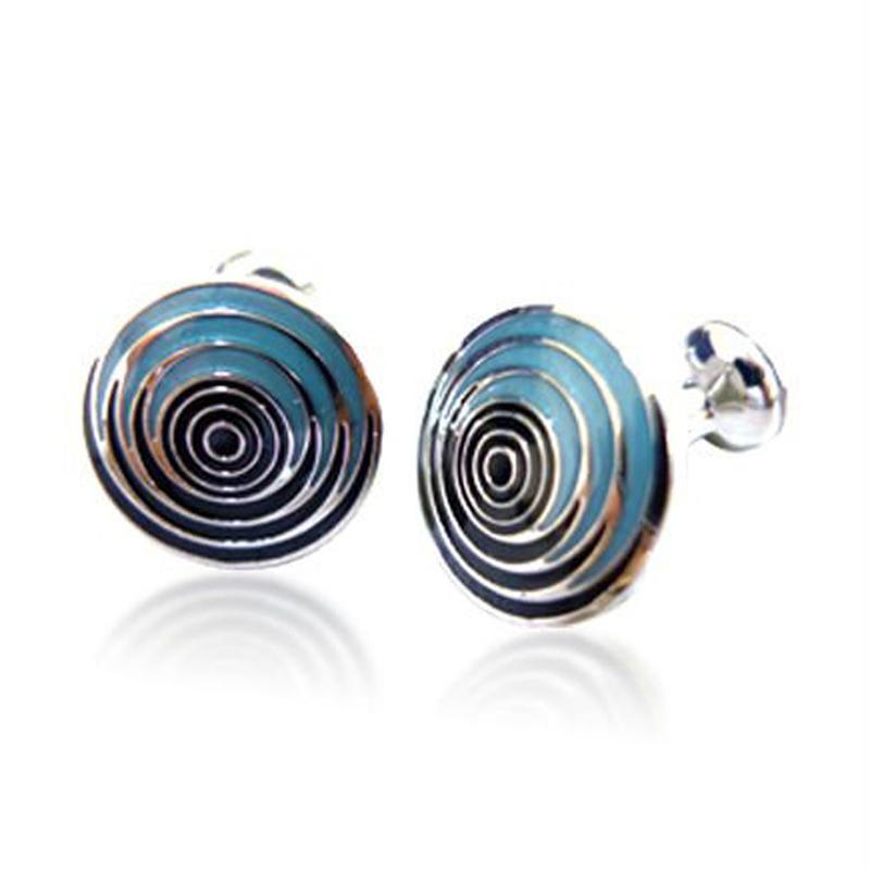 Wholesale elegant round blue enamel stripe sterling silver cufflinks