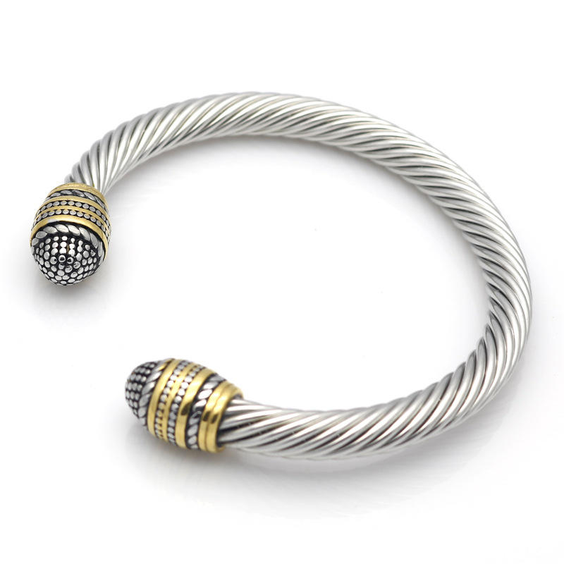 Twist Design Stainless Steel Cable Bracelet Bangle Open Style