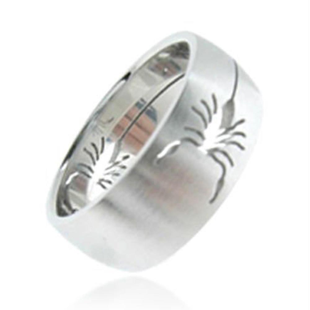 Amazing Laser Cut Smooth Scorpion Pattern Engraved Titanium Animal Shaped Rings