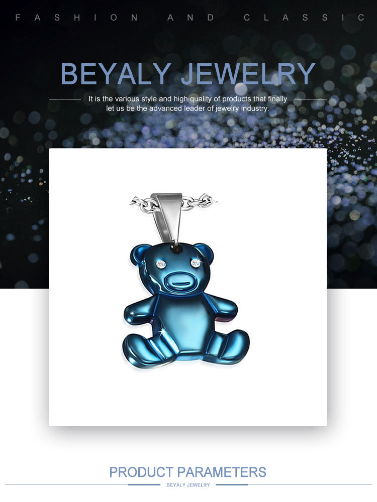 Blue Color Plating Fashion Stainless Steel Jewelry Wholesale Bear Pendant
