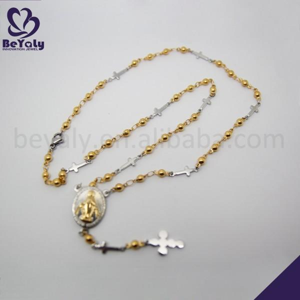 Gold beads design gothic stainless steel chain necklace hot for sale