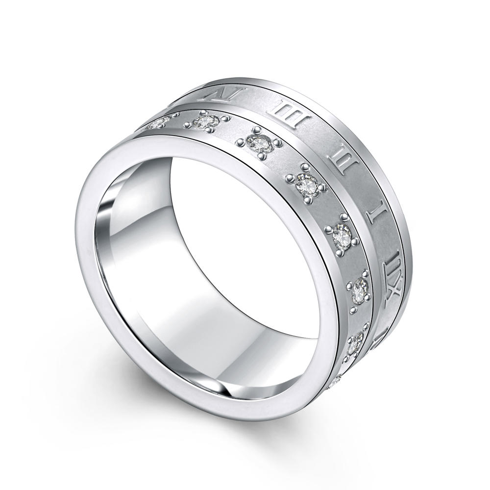Roman Numerals Cz Large Size 3161 Stainless Steel Ring Made In China