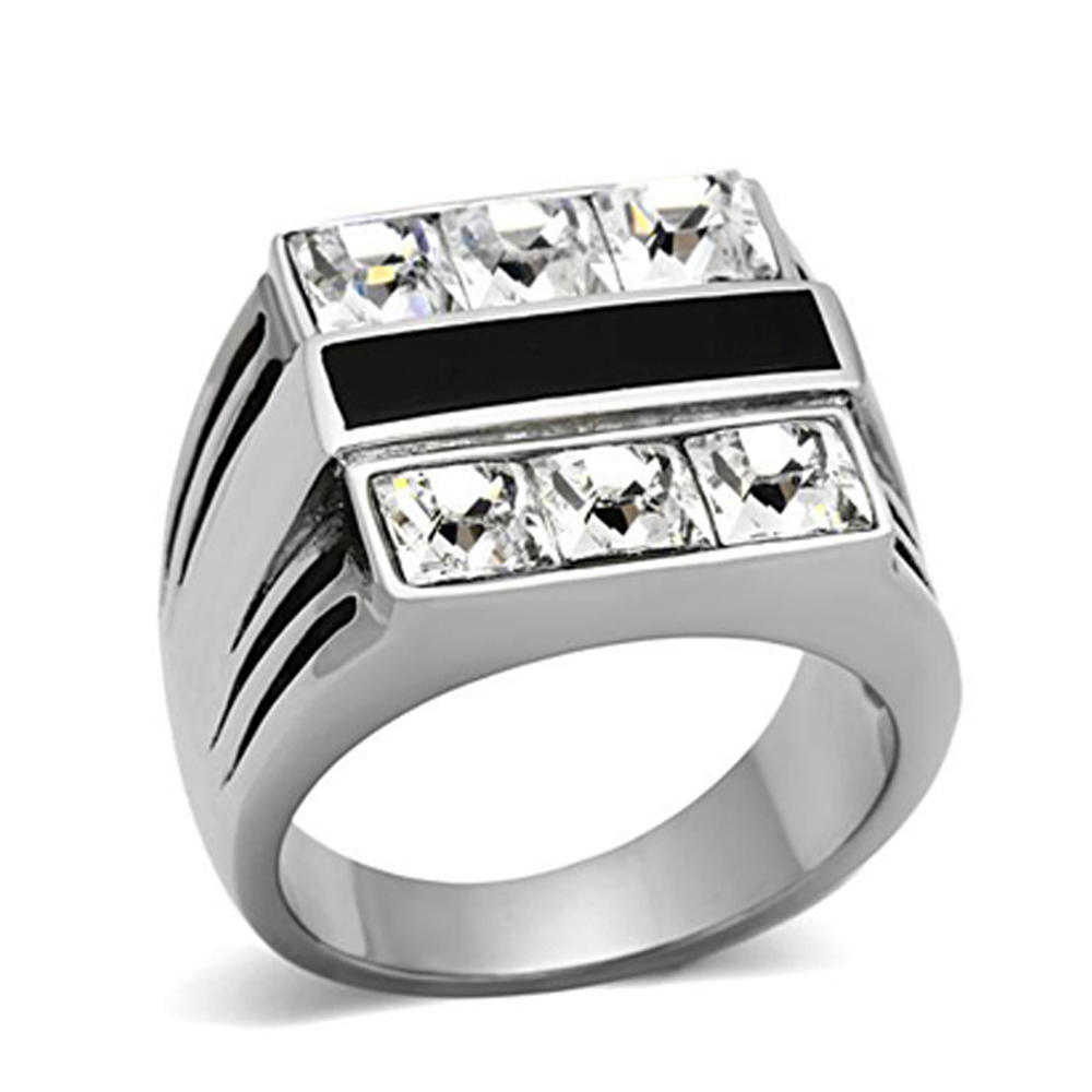 Square Rhinestone High Quality Jewelry Punk Stainless Steel Rings