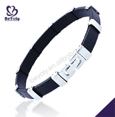 Black no harm titanium mens leather bracelets jewelry as good gifts