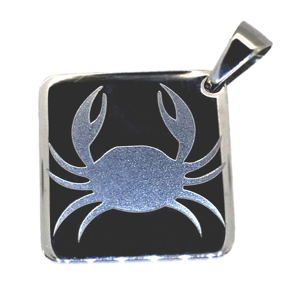 Popular men's stainless steel engraved pendant crab jewelry