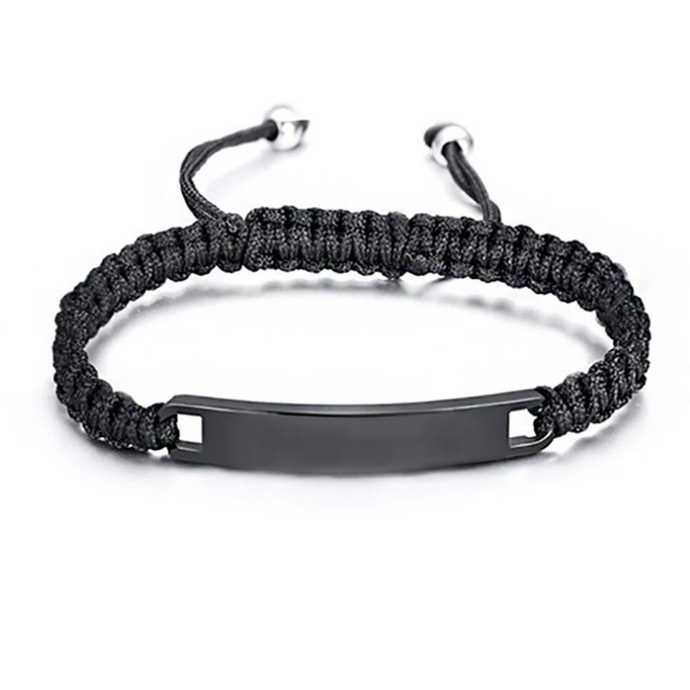 Custom Your Logo Engraved Braided Bracelet Bangle Woman Adjustable Design